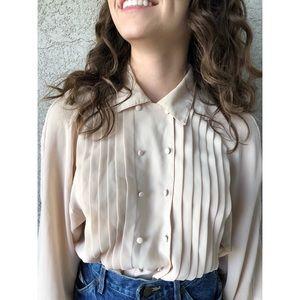 VINTAGE | light tan double button blouse